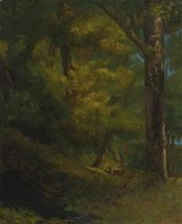 deux chevreuils dans la forêt by gustave courbet