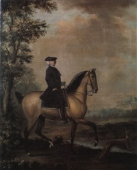 an esquestrian portrait of a country squire and his hound by david morier