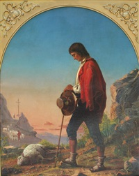 a shepherd boy sorrowing over a dead sheep by thomas hicks