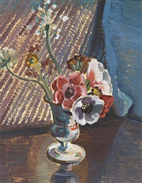 still life, agapanthus and ranunculus by roy de maistre