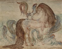 horse with roosters by ger (gerardus petrus) langeweg