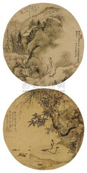 山水人物 (两幅) (landscape and figure) (2 works) by jiang lian