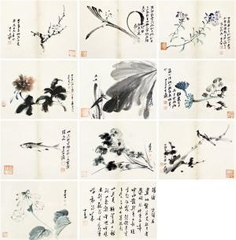 花卉 album w11 works by zhang daqian