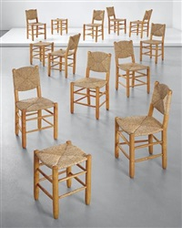 set of twelve dining chairs, model no. 18 and three stools, model no. 17, from 'l'equipement de la maison' series, grenoble by charlotte perriand