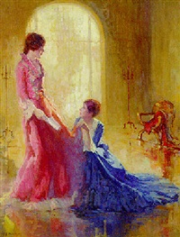 elegant ladies in pink and blue by henry salem hubbell