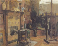 in the artist's studio by arthur rogiers