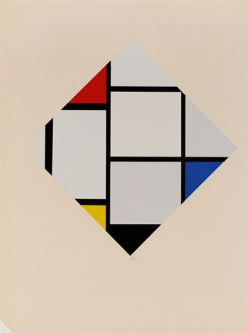 losange bleu jaune rouge from portfolio of 12 by piet mondrian