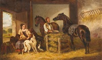 stable scene with man and lady, horses and dogs by edmund aylburton willis