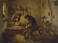 clog makers at work by jozef van snick