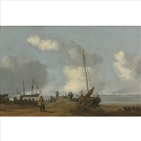a coastal landscape with figures on a jetty, a sailing boat moored to its right by cornelis de bie