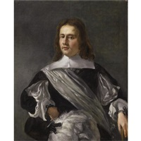 portrait of a young man, wearing a black costume with flat collar and a white chemise, and a white satin sash by hendrick verschuring