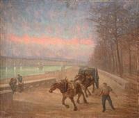 chevaux de halage sur les quais au crépuscule by adrien godien