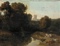 cattle by a river in a wooded landscape, a castle beyond by william tomkins