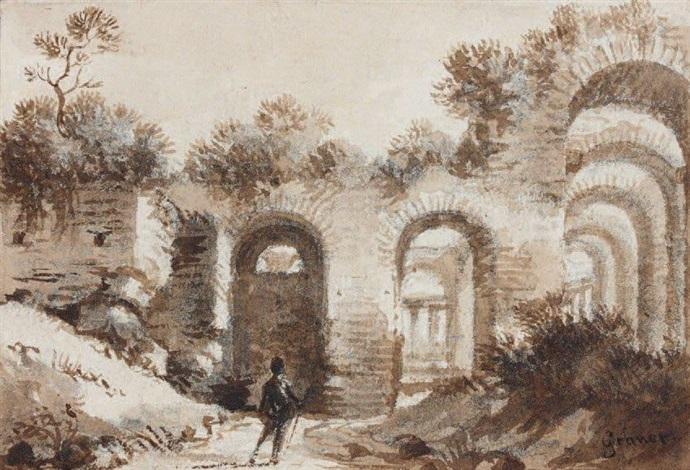 promeneur dans les ruines antiques by françois marius granet
