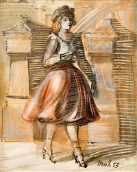 girl walking on a new york street; pair of ladies by reginald marsh