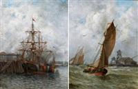 voilier au port - bateaux de pêche en mer (2 works) by jules vernier