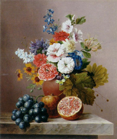 flowers in a vase with grapes and pomegranates on a stone ledge by arnoldus bloemers