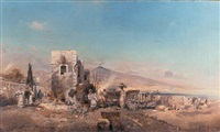 a mediterranean village with vesuvius beyond by rudolf alott