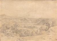 vue du lac d'averne by théodore claude félix caruelle d' aligny