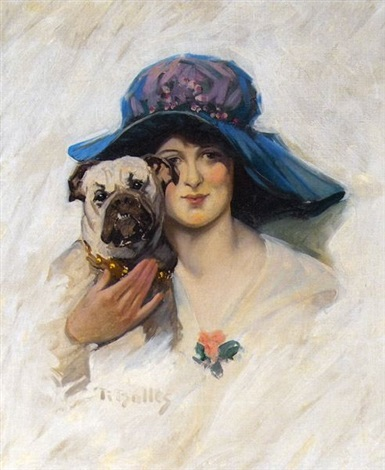 woman in large hat holding bulldog by reginald f. bolles