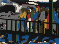 confrontation on the bridge by jacob lawrence
