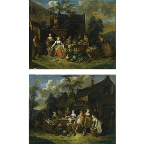 an elegant company in a landscape amongst different fruits and vegetables a man with a wheelbarrow entering from the left an elegant company in a landscape amongst different fruits and vegetables a woman with a wheelbarrow entering from the right pai by jan baptist lambrechts