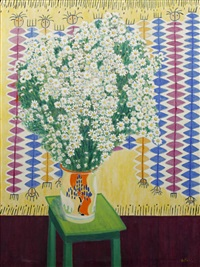 still life of daisies in an art deco vase by jean de paul