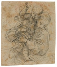 madonna and child; two figures, a column to the left (recto-verso) by lodovico carracci