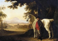 a grey horse held by its owner in a landscape by george garrard