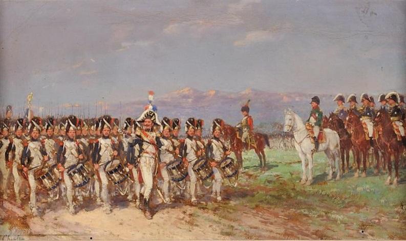 lempereur et son état major passant en revue la garde impériale by emile chepfer