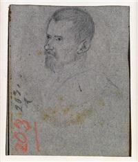 porträt von andrea frizier, porträt von alvise corradini doppelseitiges studienblatt by leandro da ponte bassano