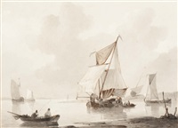 fishing boats near the coast by johannes christiaan schotel