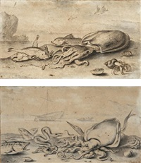 paire de natures mortes: sèche, rouget et bernard l'ermite; poulpe, anguille, orphie, maquereau et praire (pair) by albert flamen