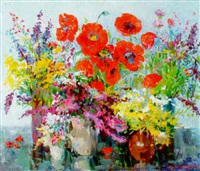 summer flowers with poppies by armen atayan