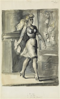 woman walking past window display by reginald marsh