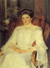 portrait of a young woman seated in an armchair by joseph poole addey