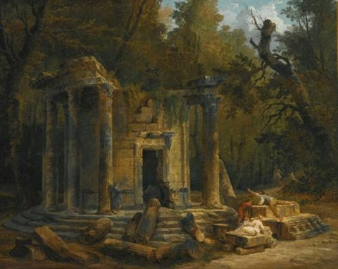 temple of philosophy at ermenonville by hubert robert