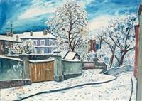 montmartre, rue sous la neige by elisée maclet