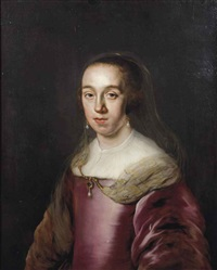 portrait of a lady, half-length, in a purple dress, with a gold embroided veil, a precious stone with pearl jewel pendant and pearl earrings by adam camerarius