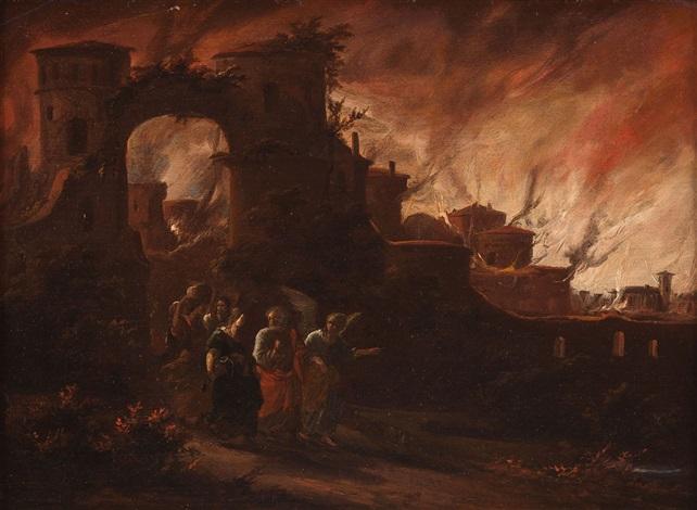 lot und seine töchter fliehen aus dem brennenden sodom by egbert lievensz van der poel