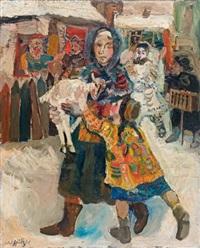 mère et enfant tenant un agneau by walter spitzer