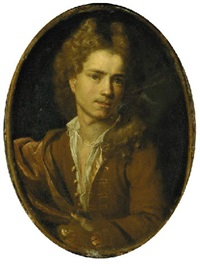 portrait of the artist wearing a gold embroidered tan frock-coat and white shirt by françois (le moine) le moyne