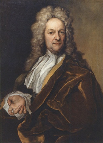 portrait of a nobleman wearing a yellow lined brown velvet cloak with lace chemise and wig by georg gsell