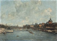the river seine at the pont des arts, paris by alexis vollon