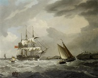 a 74 of the royal navy heaving-to in st. mawes harbor, with st. mawes castle on the headland beyond by george webster