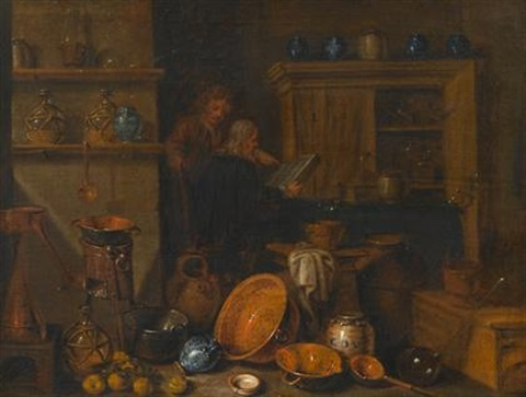 figures reading in a kitchen interior by giovanni domenico valentino