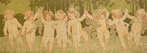 one panel from cherubs by henri privat livemont