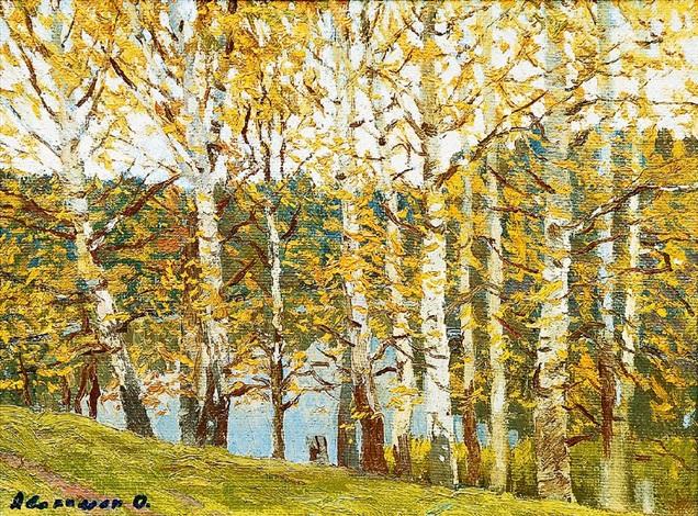 birkenwald am fluß msta by oleg avakimjan