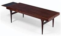 table basse aménagée de deux tirettes by johannes andersen