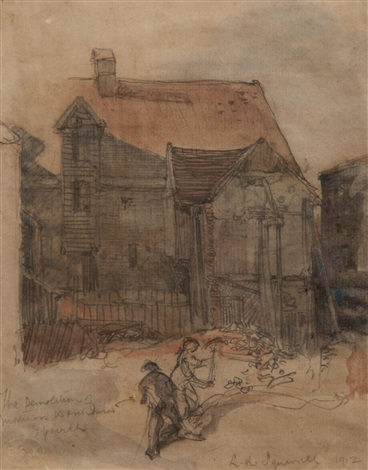 the demolition of mortimers warehouses ipswich 5 etchings 6 works by leonard russel squirrell